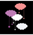 Colorful clouds isolated on black background vector image