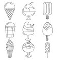 cute hand drawn with different types of ice cream vector image vector image