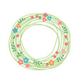 decorative floral wreath nest of herbs flowers vector image