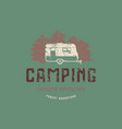 emblem with rough texture for camping vector image vector image