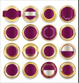 empty gold silver and purple labels collection vector image