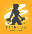 fitness logo with woman lifting weights vector image