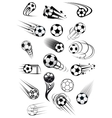 Football or soccer ball symbols in black and white vector image vector image