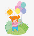 girl with hairstyle game with balloons and sun vector image vector image