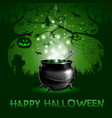 halloween night background with with magic potion vector image