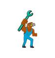 Hawk Mechanic Standing Pipe Spanner Cartoon vector image