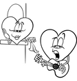 heart love song cartoon coloring page vector image vector image