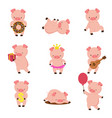 kawaii pigs funny bapig in mud piggy eating vector image