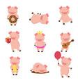 kawaii pigs funny bapig in mud piggy eating vector image vector image