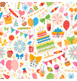 kids party elements pattern for birthday party vector image vector image