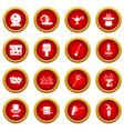 magic icon red circle set vector image vector image