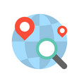 magnify glass pin location and globe searching vector image