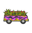 minibus van with cannabis leaf sketch engraving vector image