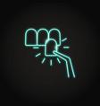 neon dental veneer icon in line style vector image vector image