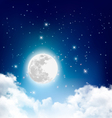 Night nature sky background with full moon cloud vector image