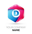 realistic letter d in colorful hexagonal vector image vector image