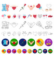 romantic relationship cartoon icons in set vector image