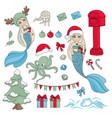 sea christmas set new year color vector image