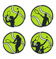 set tennis balls with player inside vector image vector image