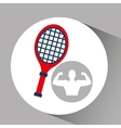 silhouette man bodybuilder racket tennis vector image