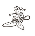 surfer action group surfing sport vector image