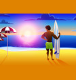 surfer on the ocean beach at sunset with surfboard vector image vector image