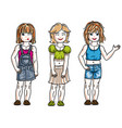 sweet little girls standing wearing casual vector image vector image