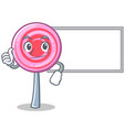 thumbs up with board cute lollipop character vector image vector image