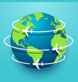 time to travel explore the world with aircraft vector image