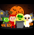 trick or treat halloween background with kids vector image