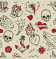 vintage tattoos seamless pattern vector image vector image