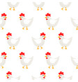 white hen rural seamless pattern vector image