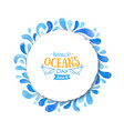 World oceans day watercolor blue background