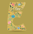 yellow letter e with floral decor and necklace vector image vector image