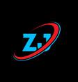 zj z j letter logo design initial letter zj vector image vector image