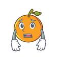 afraid orange fruit cartoon character vector image