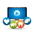 computer video play network media icons vector image