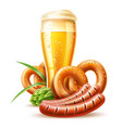 3d lager beer glass pretzel and sausage vector image