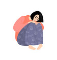 a sad girl vector image