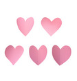 a set of pink paper hearts vector image