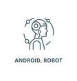 android robot line icon android robot vector image