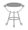 bbq grill front view monochrome dotted silhouette vector image