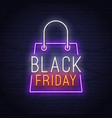 black friday neon sign sale banner logo vector image
