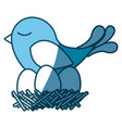 blue silhouette of bird in nest with eggs vector image vector image