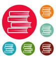 book student icons circle set vector image