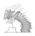 cartoon of man or businessman under falling pile vector image
