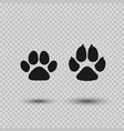 cat and dog paw print pets paw silhouette vector image vector image