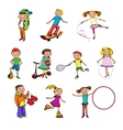 Children characters sketch colored vector image vector image