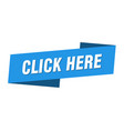 click here banner template click here ribbon vector image vector image