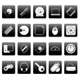 Computer icons on black squares vector image vector image